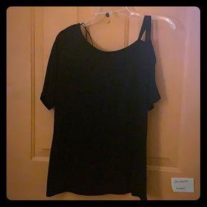 Black one shoulder knit top